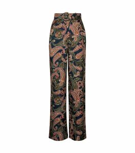 Laila Belted Wide-Leg Trousers
