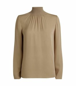 Silk Ribbed Mock-Neck Top