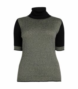 Short-Sleeved Contrast-Knit Top