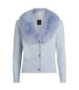 Wool-Cashmere Fur-Trim Cardigan