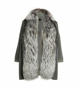 Fox Fur-Trim Cardigan