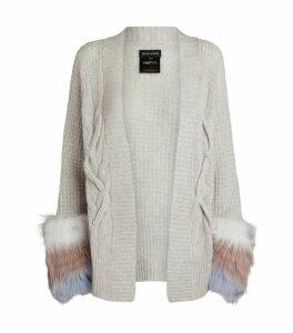 Cable Knit Fur-Trim Cardigan