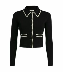 Knit Contrast-Trim Cropped Cardigan