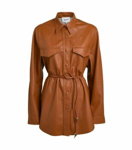 Eddy Vegan Leather Belted Shirt