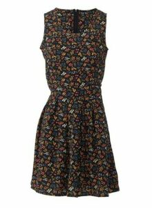 Womens Izabel London Black Floral Print Dress, Black