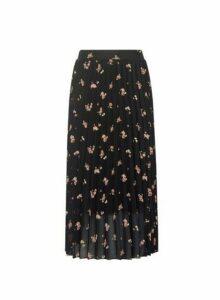 Womens Black Floral Print Pleated Midi Skirt, Black