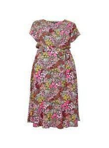 Womens Billie & Blossom Curve Pink Floral Print Midi Dress, Pink