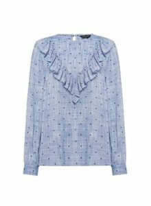 Womens Blue Denim Look Spot Print Ruffle Top, Blue