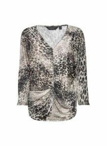 Womens Multi Colour Animal Print Twist Front Top, Multi Colour