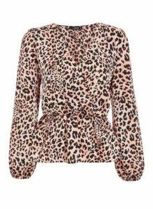 Womens *Quiz Pink Leopard Print Peplum Top, Pink