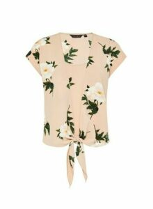 Womens Nude Floral Print 2-In-1 Tie T-Shirt, Nude