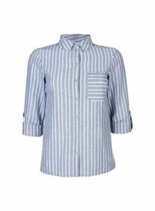 Womens Petite Blue And White Stripe Shirt, Blue