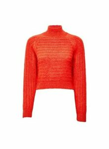 Womens **Lola Skye Orange Chunky Jumper, Orange