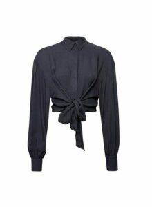 Womens Lola Skye Deep Blue Oversize Shirt - Black, Black
