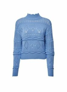 Womens **Lola Skye Blue Pointelle Jumper, Blue