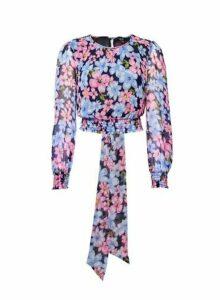 Womens Lola Skye Floral Print Tie Back Top - Multi Colour, Multi Colour