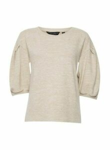Womens Camel 3/4 Sleeve Jumper- White, White