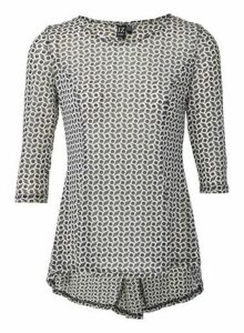 Womens *Izabel London Grey Geometric Print Peplum Top, Grey