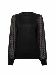 Womens Black Dobby Spot 2-In-1 Jumper, Black