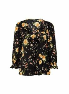 Womens Black Floral Print Ruffle Top, Black