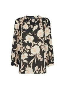 Womens Dptall Black Floral Print Puff Sleeve Blouse, Black