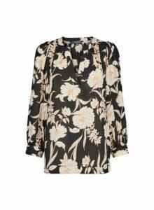 Womens **Tall Black Floral Print Puff Sleeve Blouse, Black
