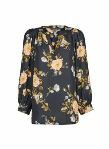 Womens **Tall Black Floral Print Blouse, Black