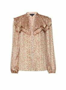 Womens Blush Chiffon Floral Print Long Sleeve Shirt - Pink, Pink