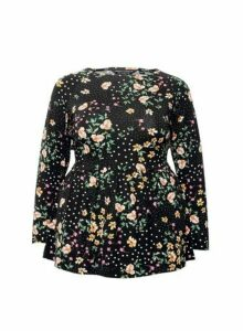 Womens Dp Curve Multi Colour Peplum Top - Black, Black