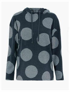 M&S Collection Soft Touch Polka Dot Hooded Sweatshirt