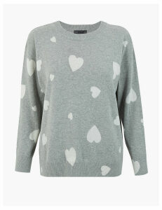 M&S Collection Pure Cotton Heart Print Relaxed Fit Jumper