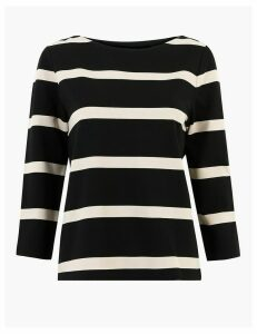 M&S Collection Ponte Striped Slash Neck Long Sleeve Top