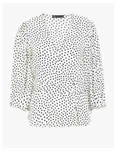 M&S Collection Polka Dot V-Neck Long Sleeve Blouse
