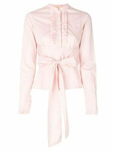 Romeo Gigli Pre-Owned ruffled trim belted shirt - PINK