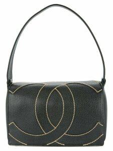Chanel Pre-Owned 2004-2005 stitched logo shoulder bag - Black
