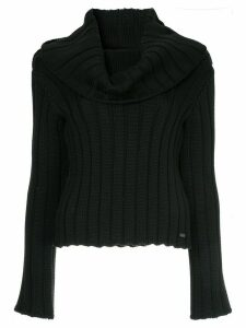 Chanel Pre-Owned cowl neck ribbed blouse - Black
