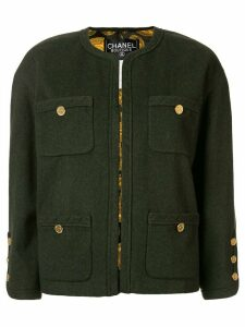Chanel Pre-Owned CC Long Sleeve Buttonless Jacket - Green