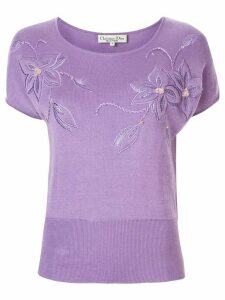Christian Dior pre-owned floral embroidered T-shirt - PURPLE