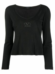 Valentino Pre-Owned 1990's crystal logo top - Black