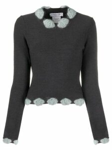 Christian Dior Pre-Owned 2000s embellished neck knitted top - Grey