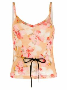 Christian Dior Pre-Owned 2001 floral drawstring top - ORANGE
