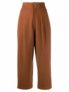 Yohji Yamamoto Pre-Owned 1980s high-rise cropped trousers - Brown