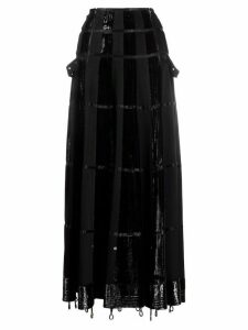Christian Dior 2000s pre-owned panelled maxi A-line skirt - Black