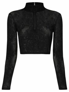 Adam Selman Sport embroidered floral sheer cropped top - Black