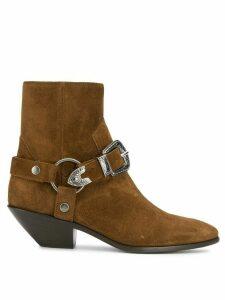 Saint Laurent buckle ankle boots - Brown