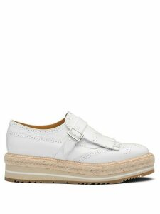 Prada brushed leather buckle brogues - White