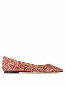 Jimmy Choo Romy glitter ballerina shoes - PINK
