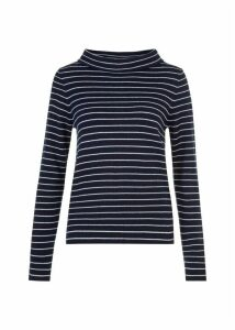 Striped Wool Blend Audrey Sweater Navy Ivory