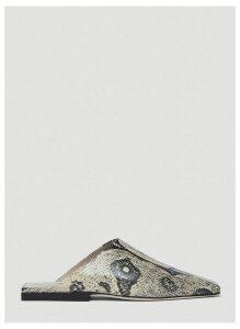 Rejina Pyo Leo Snake-Effect Leather Mules in Beige size EU - 40