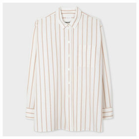 Women's Cream And Beige Stripe Cotton Shirt